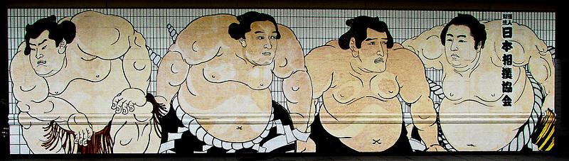 Lutadores de sumo enfileirados (ilustração)