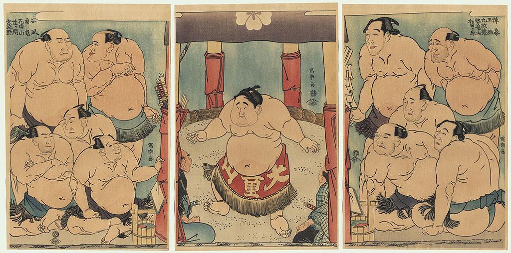 Ilustração lutadores de sumo