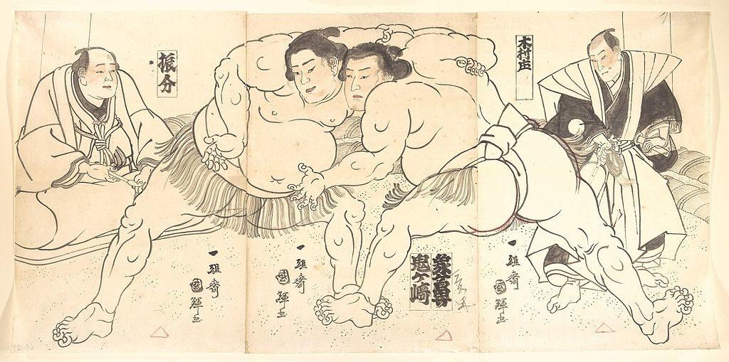Ilustração a preto e branco de combate de sumo