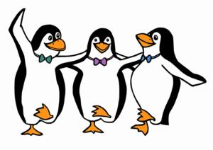 Pinguins dançam para celebrar um novo hábito